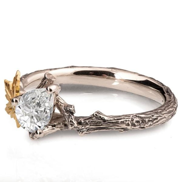 Twig and Maple Leaf Yellow Gold Moissanite Engagement Ring
