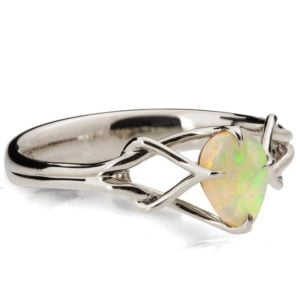 Pear Cut Opal Celtic Engagement Ring Platinum