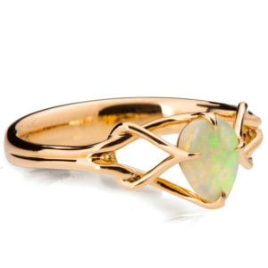 Pear Cut Opal Celtic Engagement Ring Rose Gold