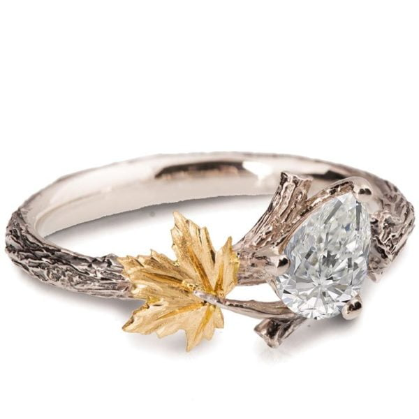 Maple Leaf Engagement Ring Yellow Gold and Moissanite