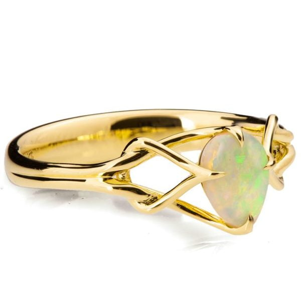 Pear Cut Opal Celtic Engagement Ring Yellow Gold