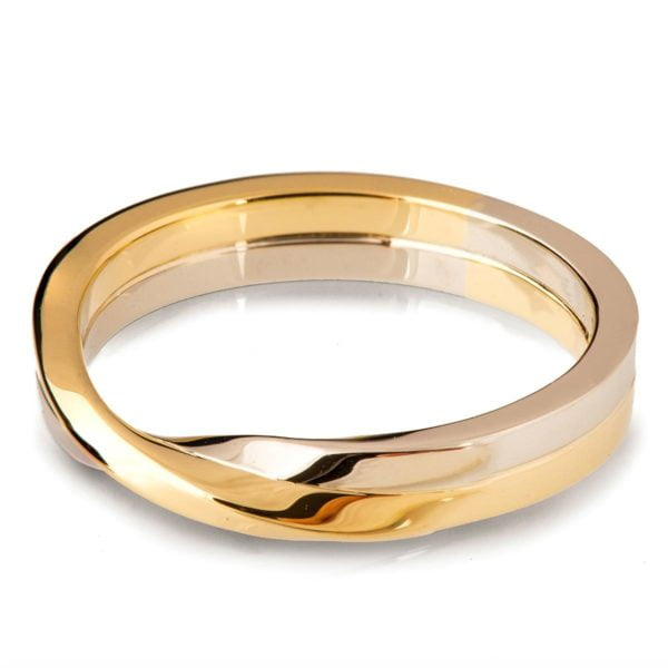 Two Toned Unique Mobius Wedding Band White and Yellow Gold