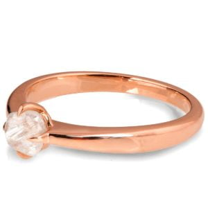 Rose Gold Raw Diamond Solitaire Engagement Ring