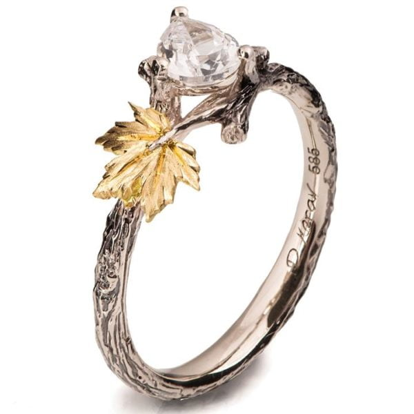 Maple Leaf Moissanite Engagement Ring Yellow Gold