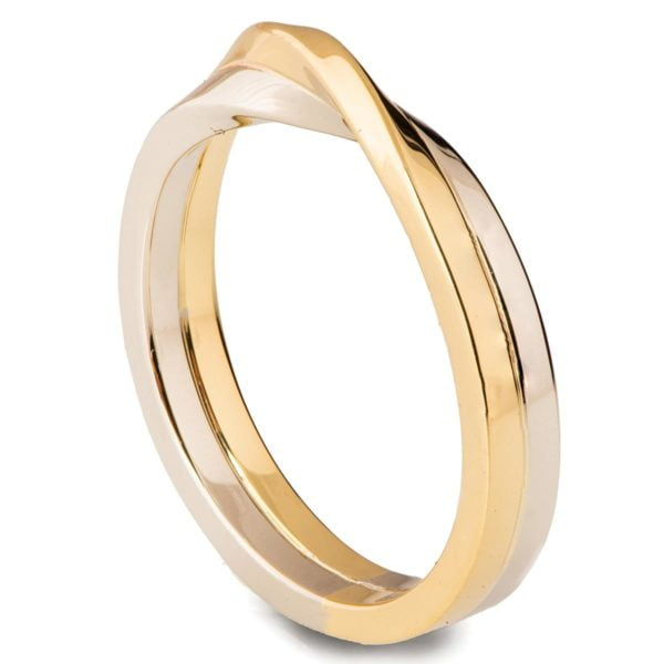 Two Toned Mobius Wedding Band White and Yellow Gold