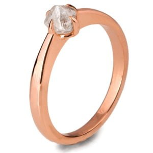 Raw Diamond Solitaire Engagement Ring Rose Gold