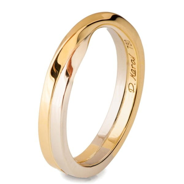 White and Yellow Gold Mobius Wedding Band