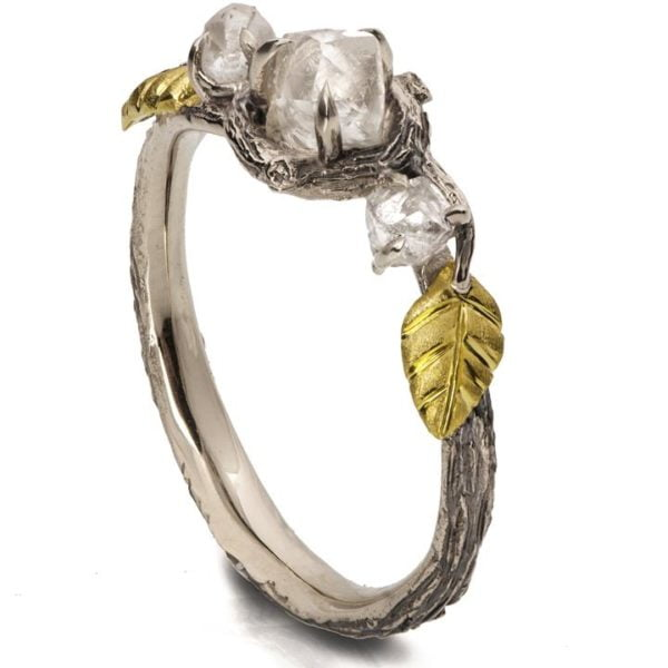 Raw Diamond Twig Engagement Ring Yellow Gold