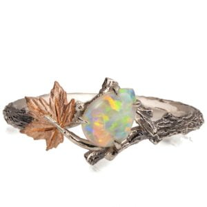 Twig and Maple Leaf Opal Ring Rose Gold