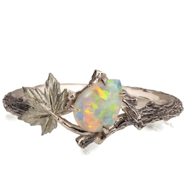 Twig and Maple Leaf Opal Ring White Gold