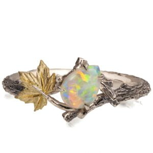 Twig and Maple Leaf Opal Ring Yellow Gold