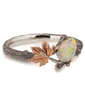 Rose Gold Twig and Maple Leaf Opal Ring