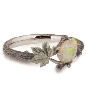 White Gold Twig and Maple Leaf Opal Ring