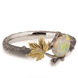 Yellow Gold Twig and Maple Leaf Opal Ring