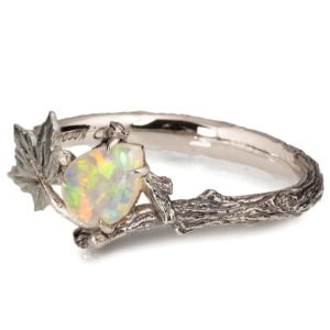 White Gold Maple Leaf Opal Ring