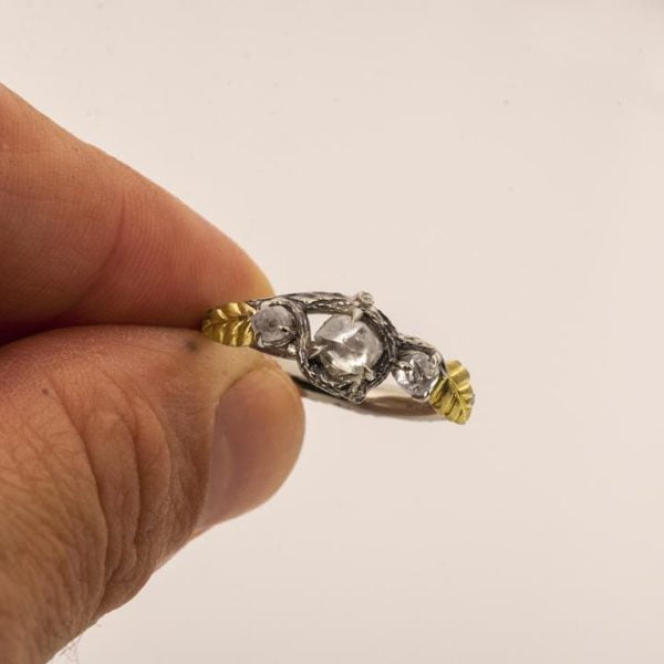Raw Diamond Twig Engagement Ring Yellow Gold Catalogue