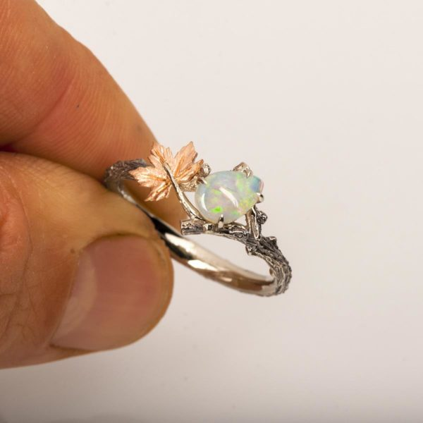 Twig and Maple Leaf Opal Ring Rose Gold Catalogue