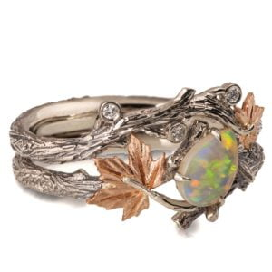 Twig and Maple Leaf Opal Bridal Set Rose Gold Catalogue