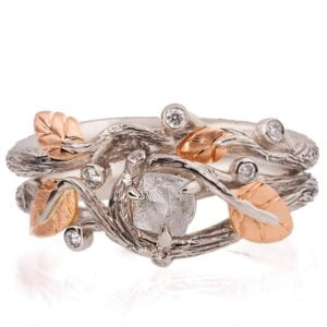 Nature Lover Raw Diamond Rose Gold Bridal Set