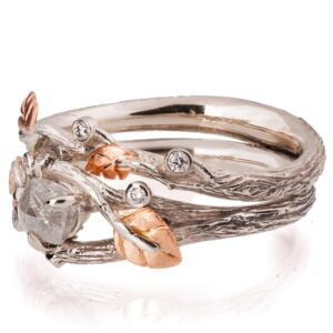 Twig Raw Diamond Bridal Set Rose Gold